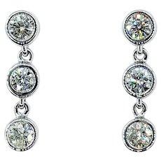 Glittering Diamond 3-Stone Dangle Earrings