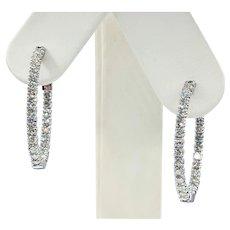 "Classic Diamond ""Inside / Outside"" Hoop Earrings - Medium"