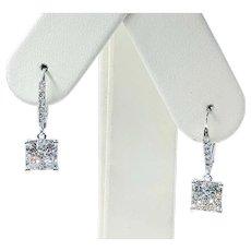 Stylish Diamond Pave & White Gold Earrings
