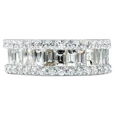 Gleaming Baguette & Round Cut Diamond Ring