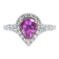 Vibrant Pink Sapphire & Diamond Ring