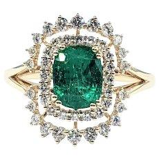 Modern Emerald & Diamond Dress Ring