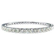 Amazing 5 1/2 Carat Diamond & White Gold Bangle Bracelet