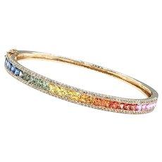 Fabulous Multicolor Sapphire & Diamond Bangle Bracelet