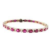 Beautiful Ruby & Diamond Tennis Bracelet
