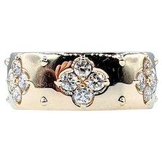 Beautiful Diamond & 14K Gold Quatrefoil Ring