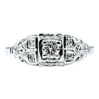 Art Deco Diamond & 18K White Gold Ring