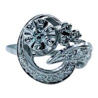 Mid Century European Cut Diamond Ring - 14K White Gold