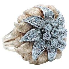 Sculptural Diamond & 14K Gold Floral Cocktail Ring