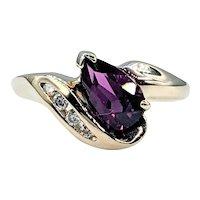 Rare Purple Garnet & Diamond Ring