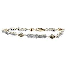 Detailed Diamond & Yellow Sapphire Link Bracelet - 18K