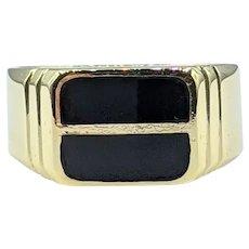 Bold Onyx & 14K Gold Men's Ring
