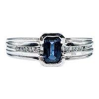 Handsome Sapphire & 14K White Gold Ring