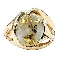 RARE & Beautiful Gold-Bearing Quartz Cocktail Ring