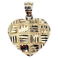 Charming Textured 14K Gold Heart Pendant