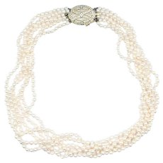 Six Strand Cultured Pearl, Diamond & 14K Gold Necklace