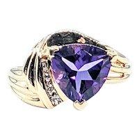 Modern Trillion Cut Amethyst & Diamond Cocktail Ring