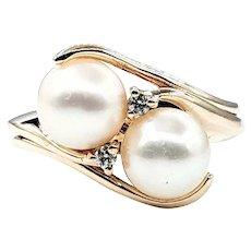 Elegant Twin Cultured Pearl & Diamond Ring