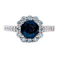 Deep Blue Sapphire & Diamond Ring - 14K Rose Gold