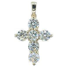Statement Yellow Gold Cross Pendant 1.86ctw Diamonds