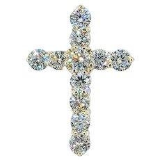 Traditional Diamond & 14K Gold Cross Pendant