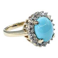 Gorgeous Turquoise & Diamond Cocktail Ring