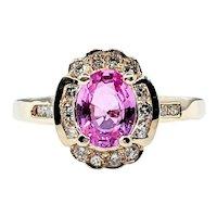 Vintage  Pink Sapphire & Diamond Dress Ring