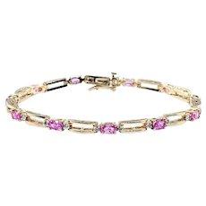 Vivid Pink Sapphire & Diamond Link Bracelet