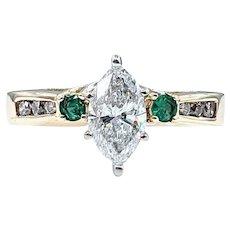 Excellent 1 Carat Marquise Diamond & Emerald Engagement Ring