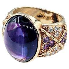 Royal Purple Amethyst & Diamond Cocktail Ring - 18K
