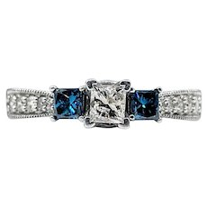 Stunning White & Blue Diamond Three-Stone Engagement Ring