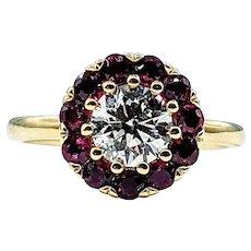 Romantic Diamond & Ruby Halo Engagement Ring