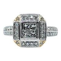"Detailed Princess Cut Diamond ""Illusion"" Ring"