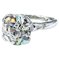 Magnificent 4.22 Carat Old European Cut Diamond Ring with GIA Report