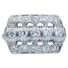 Vintage Platinum and Diamond Deco Ring