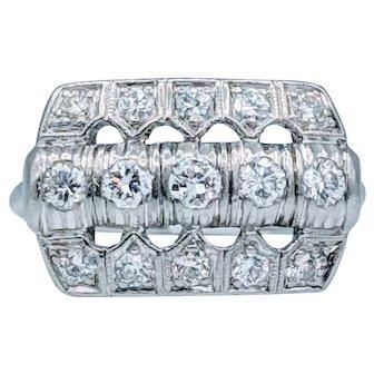 Vintage Platinum and Diamond Deco Ring