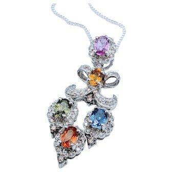 Beautiful Multicolor Sapphire & Diamond Pendant