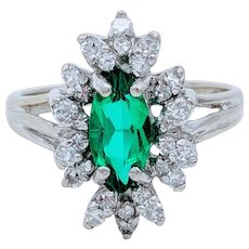 Emerald, Natural Diamond Accent Cocktail Ring
