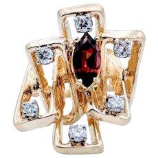 14kt Freeform Garnet & Diamond Accent Ring