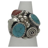 Lucy C Sterling Silver Turquoise Coral 925 Ring