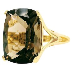 Vintage Smoky Quartz Yellow Gold Ring