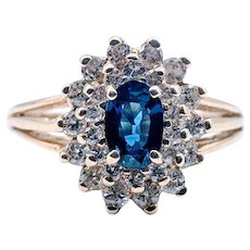 Vintage 14kt Double Halo Natural Sapphire & Diamond Ring