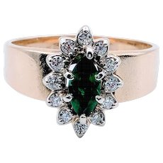 Vintage 14kt Yellow Gold Emerald Diamond Halo Ring