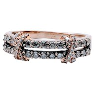 Vintage LeVian Rose Gold Ring With Chocolate & White Diamonds