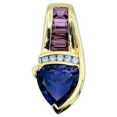 Tanzanite, Diamond & Tourmaline 14kt Gold Pendant