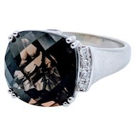 Vintage Helzberg Smokey Quartz White Gold Tourmaline & Diamond Accent Ring