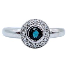 Vintage Sapphire & Diamond Accent Orb White Gold Ring