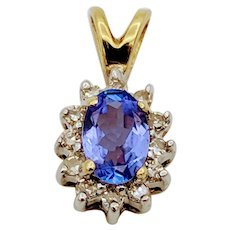 Vintage Yellow Gold Tanzanite & Diamond Pendant