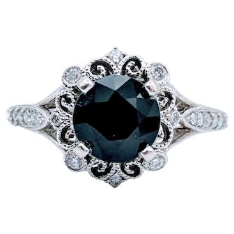 White Gold 1.25 Carat Black Sapphire Ring With Diamond Accents
