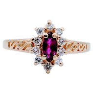 Vintage .37 ct Marquise Ruby & Diamond Accent Ring